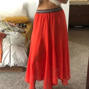 Bright orange/coral  Boho Skirt